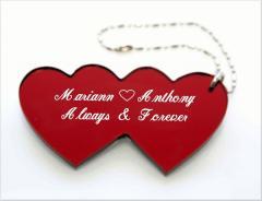 Acrylic Double Heart Keychain