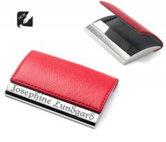 Red Magnetic Lid Business Card Holder