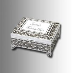 Silver Square Footed Jewelry Box