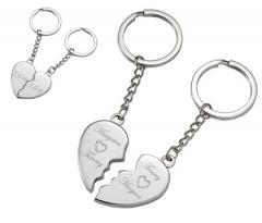 Silver Magnetic Broken Heart Keychain