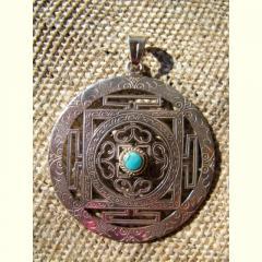 Tibetan Silver Wheel Pendant