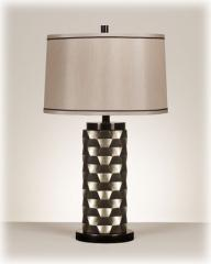 Silver and black finished table lamp.