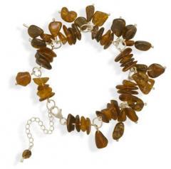 "2"" Baltic Amber Nugget Bead Drop Bracelet"