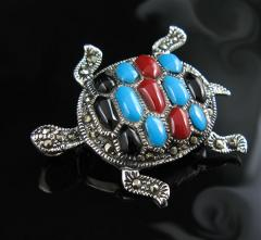 925 Sterling Silver with Marcasite Coral,