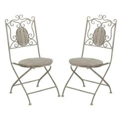 Distressed Greywash Wood Bistro Chairs