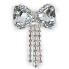 Rhinestone Gem Bow Brooch