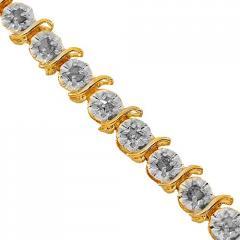 10K Yellow Gold Womens Diamond Tennis Bracelet