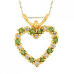 14K Yellow Gold Womens Diamond Emerald Pendant