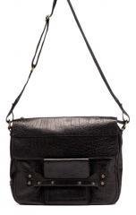 Men's Black Leather Messenger Bag