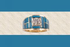 Wide Men's Single Diamond Ring