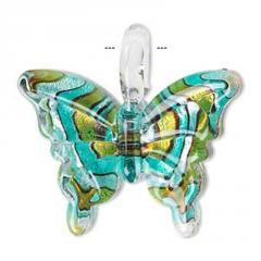 Lampworked glass butterfly pendant
