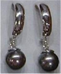 14k Black cultured pearl earrings