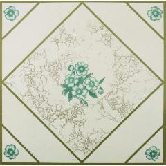 "12"" X 12"" Teal Flower Floor Tile"