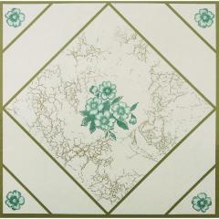 "12"" X 12"" Teal Flower Floor Tile"