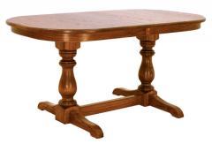 Banquet Double Pedestal Table shown in oak