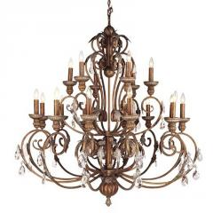 Iron and Crystal Crackled Bronze Eighteen-Light