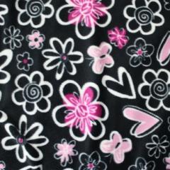 Butterfly Heart Song Winter Fleece Fabric - Black