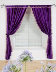 Purple Velvet Sari Brocade Trim Drape