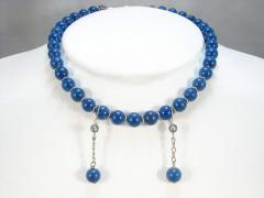 Deep Blue Lapis Round Bead Necklace and Dangle