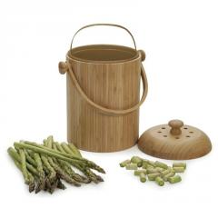 Countertop Kitchen Bamboo Compost Pail