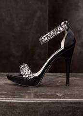 Crystal Encrusted Ankle Strap Platform Sandal