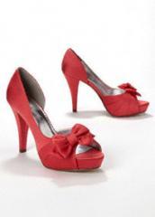 Satin Peep Toe Platform High Heel with Bow