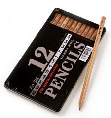 Kitaboshi Graphite Pencil Art Set Tin - 12 Pk