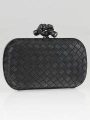 Bottega Veneta Black Satin Knot Clutch Bag