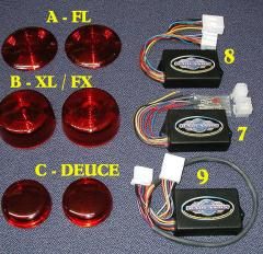 "Plug-In Illuminators™: Run, Brake And Turn Modules With ""Chris Products"" Red Lenses"