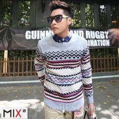 Men's Round Neck Striped Cotton Sweater
