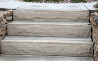 "Custom cut 6"" thick stone stair steps"