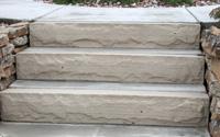 "Custom cut 6"" thick stone stair steps"