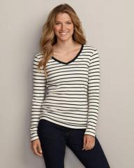 Favorite Long-Sleeve Striped V-Neck T-Shirt