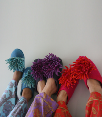 Chrysanthemum Felt Slippers