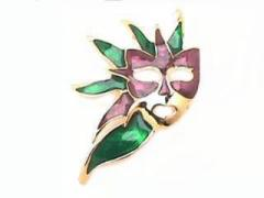 Mardi Gras Mask Brooch W/Left Feathers