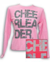 Distressed pink cheerleader long sleeve T-shirt