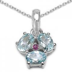 2.00 ct. t.w. Blue Topaz and Ruby Pendant in