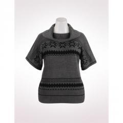 Snowflake Pattern Elbow Sleeve Sweater