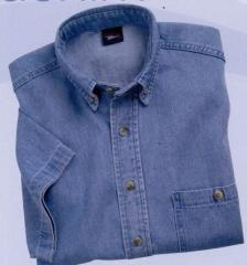 Short Sleeve Denim Blue Shirt