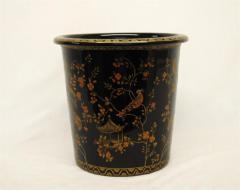 Black Pagoda Design Wastebasket 229-9674-BK