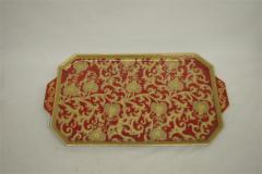 Red & Gold Scroll Rect. Tray 491-729B-FR