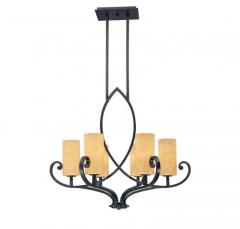 Six Light Copper Candle Chandelier