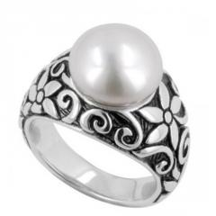 Honora® Floral cultured pearl ring