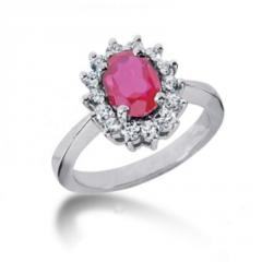 Oval pink sapphire gemstone ring with diamonds
