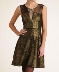 Aryn K Sheer Inset Metallic Dress