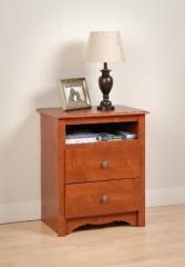 PrePac Monterey 2 Drawer Tall Nightstand with Open