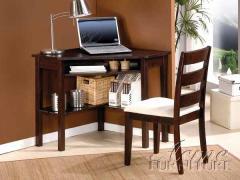 Black Finish Black Corner Desk & Chair