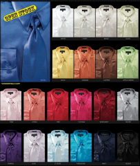 3-Piece Solid Satin Men's Dress Shirts