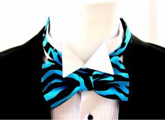 Turquoise Zebra Print Bow Ties and Hanky