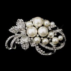 Diamond White Pearl and Rhinestone Wedding Brooch